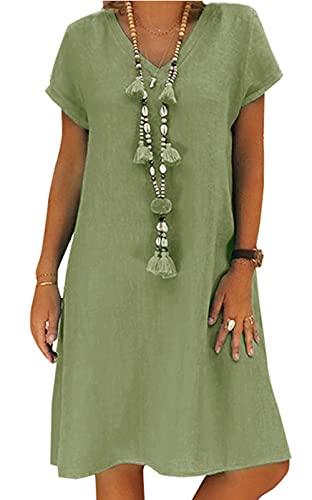 AitosuLa Sommerkleid Leinen Kleider Damen Casual V-Ausschnitt Midi Kleid Strandkleider A-Linie Kleid Boho Knielang Kleid (A Grün, XL)