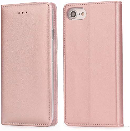 Handy 7 Plus Hülle,IPHOX Handyhülle iPhone 8 Plus Lederhülle Schutzhülle Tasche Leder Flip Hülle Wallet Stylish mit Standfunktion Etui für Apple iPhone 7Plus / 8Plus (5,5 Zoll) - Roségold / E