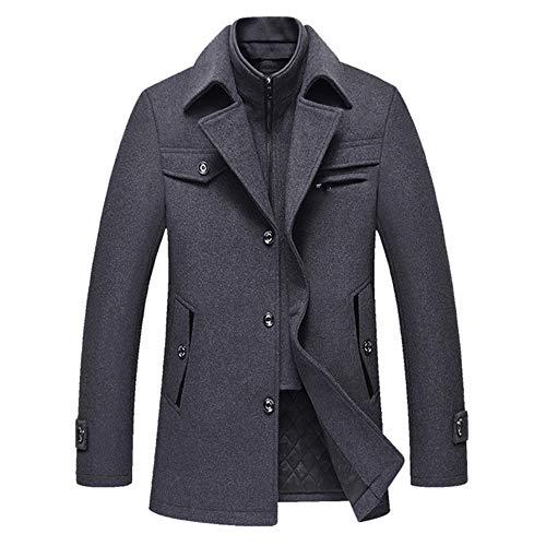 DOUFAN mannen winter wollen jas mannen effen kleur eenvoudige mengt wollen erwten jas mannelijke trui jas casual overjas