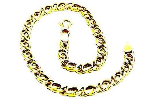 Pegaso Gioielli- Pulsera de oro amarillo de 18 ct, de eslabones, parahombre y mujer, de 20 cm