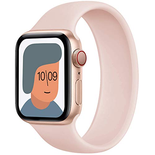 AUNDYYU Solo Loop Cinturino Compatibile con Apple Watch 38mm 40mm 42mm 44mm per iWatch Series 6 SE 5 4 3 2 1, Silicone Sport Elastico Gomma Senza Fibbia Bottoni Estensibile, 38/40mm #03 Rosa Sabbia