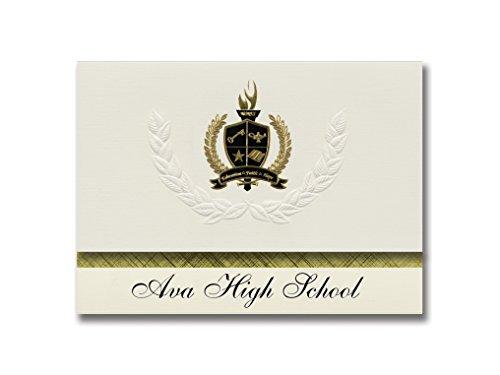 Signature-Announcements Ava High School (Ava, MO) Abschlussankündigungen, Präsidential-Stil, Elite-Paket mit 25 goldfarbenen und schwarzen Metallic-Folien-Versiegelungen