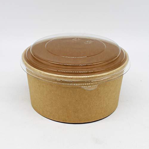 100 Stück Pappschale Salatschale Einwegschale to Go Box, Braun, Pappe, rund, 950ml / 32oz MIT Deckel für Salat, Sushi, Nudeln, Gebäck - KOMPOSTIERBAR