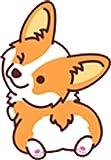 Cute Fluffy Corgi Puppy Dog Winking Kawaii Butt Tail Pose Cartoon Vinyl Sticker (2' Tall)