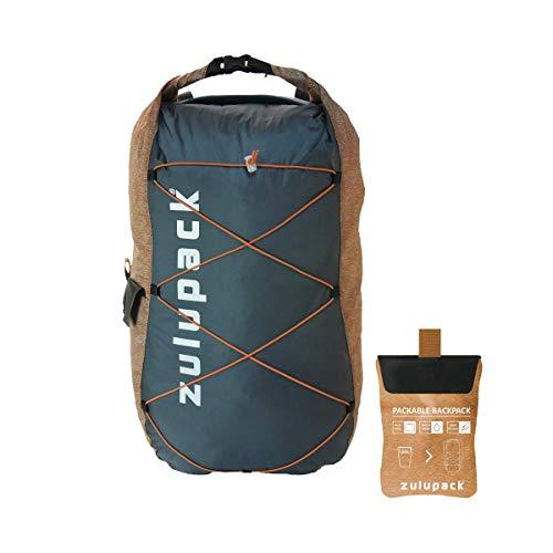 Zulupack Unisex Packbarer Ultralight Rucksack, Grau/Kamel, 17