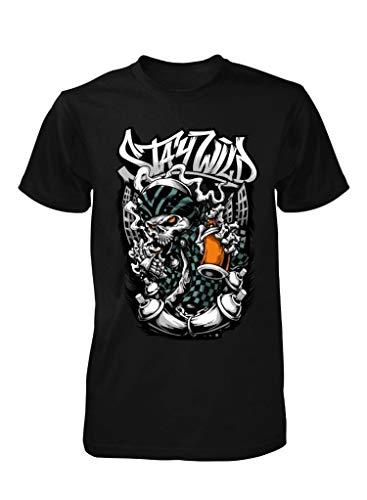 Ramgfx Stay Wild Gangster Biker Skull Graffiti Paint CARTOONAdult Kids Unisex T Shirt Black