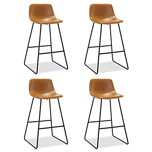 LUE BONA ALX Urban Armless Bar Chairs, Modern Industrial Faux Leather Dining Chairs Set of 4,Barstools with Backs Tall Stool for Kitchen Counter,Home and Restaurants Indoor Outdoor,30' Whiskey Brown