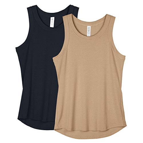 icyzone Workout Tank Tops for Women Racerback Athletic Yoga Tops Running Gym Shirts Pack of 2 M NavyKhaki