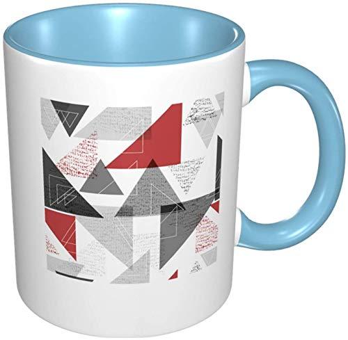 Abstract Geometric Shapes Porcelain Coffee Mug Colorful Inside Ceramic Handle Mugs for Cappuccino Tea Cocoa & Cereal Sky Blue, 11 oz