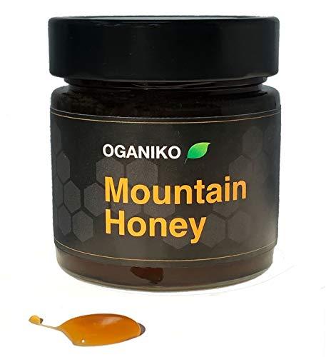 Miel de montaña española cruda – Selva Negra, Miel, Sin pasteurizar, sin procesar, sin procesar, sin filtrar, miel pura, alta en enzimas y nutrientes únicos (pequeño-330g)