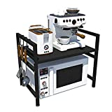 Rejilla CXIA Ajustables Microondas Cocina ,Organizador Multifuncional 2 Niveles Estante Almacenamiento De Mostrador De Acero Al Carbono -41.5 X 36 X 46cm