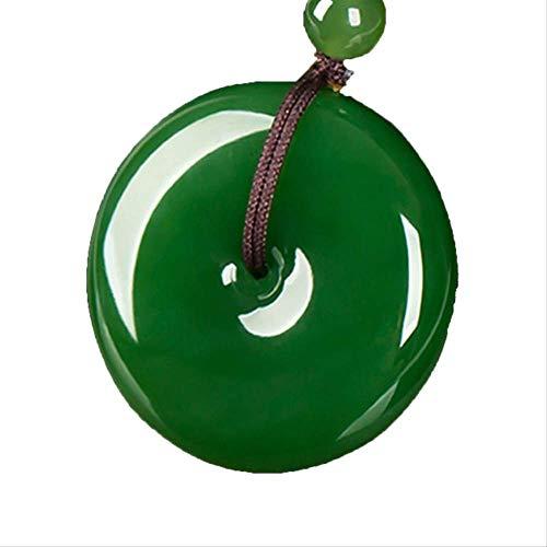 SWAOOS Colgante De Nefrita Verde A La Moda, Plano Y Redondo, Círculo, Donut, Paz, Colgante De Piedras De Jades Reales Naturales para Collar