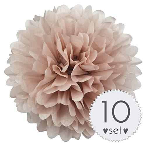 Simplydeko Pompoms Puder - Pom Pom Deko zur Hochzeit oder Party - 10er Set handgefertigte Seidenpapier Pompons (Puder, 20 cm)