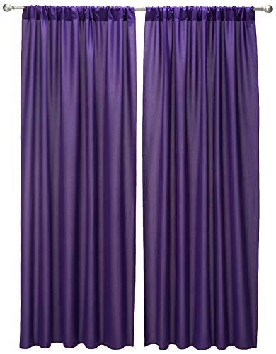 LA Linen Pack-2 Polyester Poplin Backdrop Drape 96 by 58-Inch Wide, Purple, 96 x 58