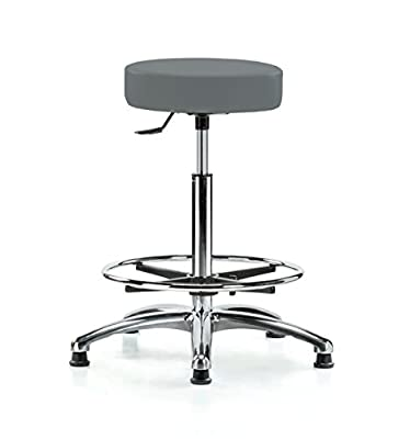 Perch Chrome Rolling Single Lever Height Adjustable Swivel Stool with Foot Ring, Stationary Caps, Counter Height, Cinder Fabric