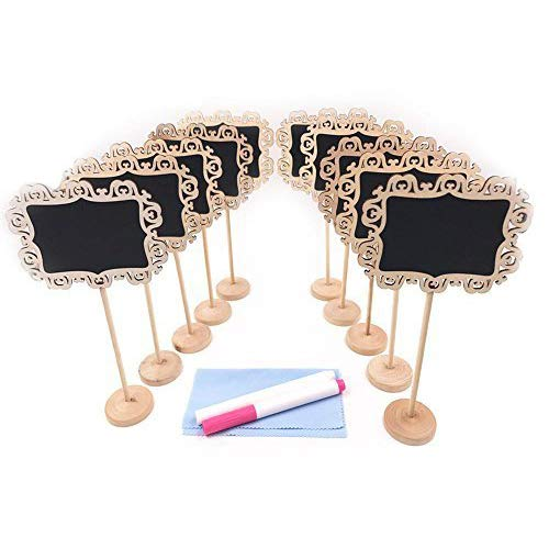 E-Conoro Mini Chalkboards with Stand, Erasable Chalk Markers and Cleaning Cloth for Message Board Signs, Wedding Party Table Numbers, Place Cards, Food Name Card, Decorative Sign (Natural)