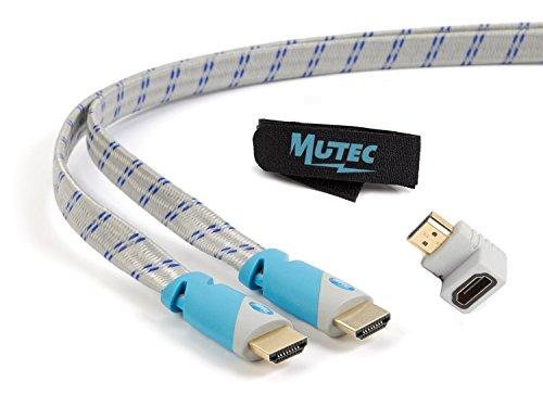 MutecPower Cavo piatto HDMI ad alta velocità con Ethernet (1 M) 1.4a - Supporto 3D e Canale di Ritorno Audio(ARC) - Full HD [Disponibile ultima versione HDMI] - 1 metro - con un adattatore HDMI e una fascetta per cavi - grigio e blu intrecciato