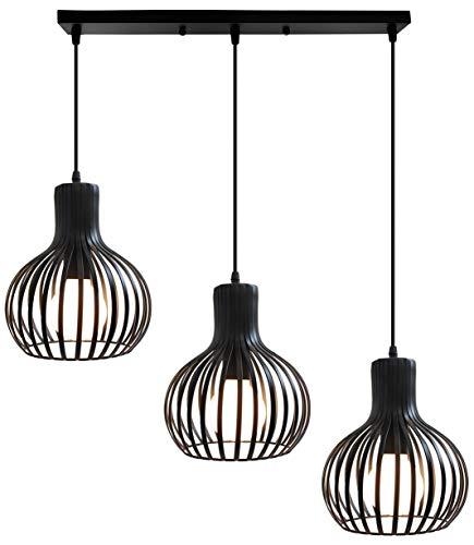 iDEGU 3 Lampes Suspension Luminaire Moderne, Lustre Plafonnier en métal en Forme de Cage à Vase Lampe de Plafond pour salon cuisine salle à manger restaurant - diamètre 20cm, Noir (barre)