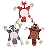 AsyPets 3 Pack No Stuffing Squeaky Dog Toy, No Stuffless Crinkle Dog Toy, Rope Knots Puppy Chew Toys Sturdy Squirrel Dog Toy