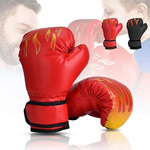 Wuudi Guantoni da Boxe per Bambini, 6oz Guanti da Sacco da 3 a 12 Anni per Arti Marziali, MMA, Sparring e Boxe Rosso
