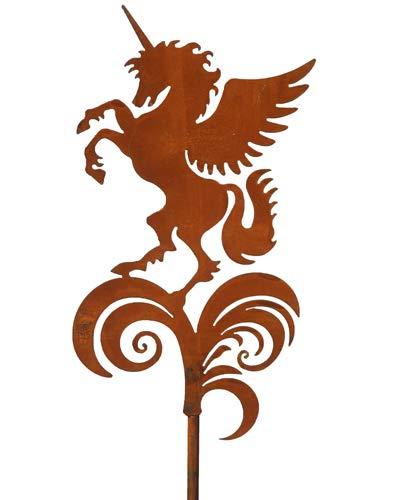 Bornhöft Gartenstecker Einhorn Pegasus Blumen Beetstecker Topfstecker Metall Rost Gartendeko Edelrost rostige Dekoration 155cm