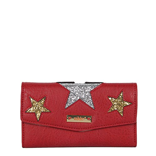 Nikky RFID portafolios de bloqueo [rojo] estrellas de purpurina organizadora de viaje, Rfid Blocking Wallet [Rojo] Glitter Stars Organizador de embrague, Rojo, Una talla