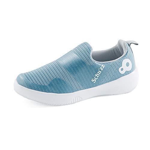 Schu'zz Chaussure de Travail - Basket Sans Lacet Femme Mesh Bleu Clair - Infirmière hopital (39 EU) 🔥