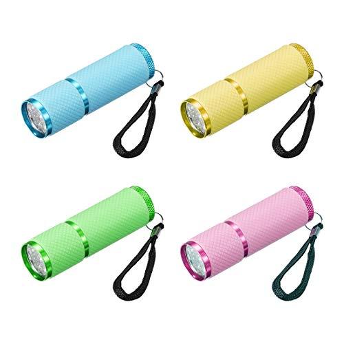 sourcing map UV Mini 9 LED Aluminium Lampe de poche AAA Batterie Pas Inclus Coloré 4Pcs