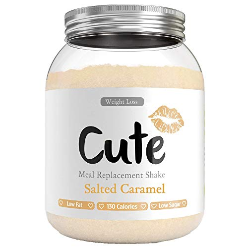 Cute Nutrition Salted Caramel Meal Replacement Shakes for Weight Loss Control Diet Shake for Women 500g tub with Bonus 4 Week Fat Buster Workout Plan