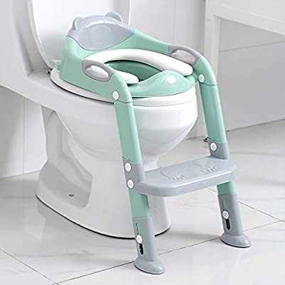 Potty Training Seat Boys Girls,Toddlers Potty Seat Toilet Chair, Kids Toilet Training Seat with Step Stool Ladder (Gray/Green)