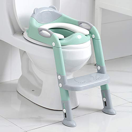 Potty Training Seat Boys Girls,Toddlers Potty Seat Toilet Chair, Kids Toilet Training Seat with Step Stool Ladder (Gray/Green)