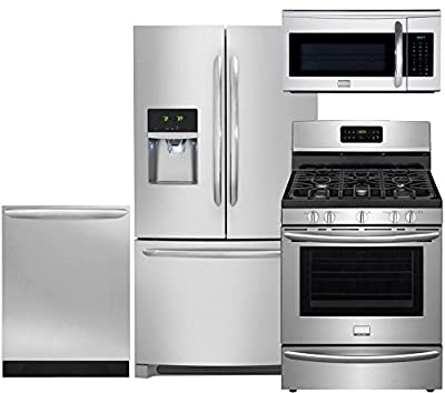 "Frigidaire 4-Piece Smudge-Proof Stainless Steel Package, FGHF2366PF 36"" Freestanding French-Door Refrigerator, FGGF3035RF 30"" Gas Range, FGID2466QF Dishwasher and FGMV175QF Over-the-Range Microwave"