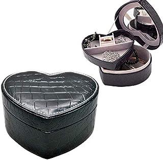 林二層のハート形の小さな宝石箱合成皮革リングとイヤリングミラー旅行収納ケース(ブラック) WXW (Color : Black)