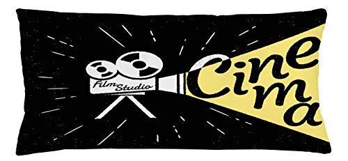 ABAKUHAUS Movie Theater Throw Pillow Cushion Cover, Movie Projector Sketch with Grunge Cinema Lettering on Black Backdrop, Decorative Square Accent Pillow Case, 36 X 16 Inches, Yellow Black White