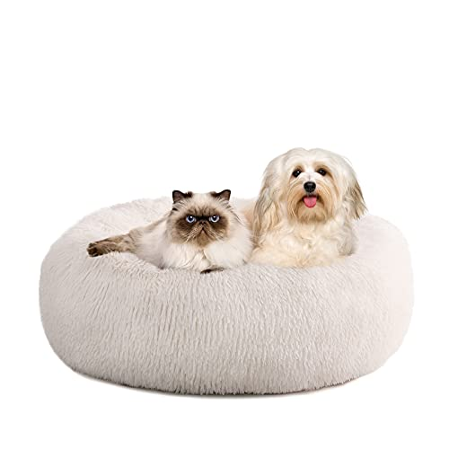 Kimicole Cozy Donut Calming Dog Bed Cat Bed, Super Soft Fluffy Washable Anti Anxiety Plush Home Pet Beds for Small Medium Dogs Cats, Fuzzy Self-Warm Non-Slip Round Puppy Kitten Bed, Cream White, 23'