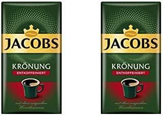 Jacobs Kronung Entkoffeiniert Decaf Ground Coffee 500 Gram / 17.6 Ounce (Pack of 2)