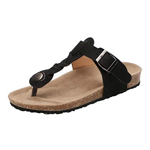 LILIHOT Frauen Geflochtene Zehe Flip-Flops Flache Schuhe R?mische Damen Sandalen Sommer b?hmischen Strand Tanga Hausschuhe Flache Outdoor Schuhe Damen Hausschuhe Toe Separator??