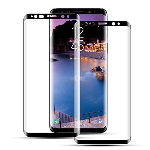 Mriaiz Verre Trempé pour Samsung Galaxy S8 Plus, (2 Pièces) [Couverture Complète] [Dureté 9H] [Ultra Claire] [Anti Rayures] [sans Bulles] Film de Protection d'écra pour Samsung Galaxy S8 Plus