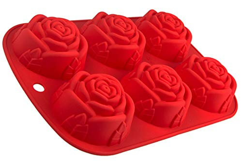 Silikonform mit Rosen, 6 Blumen, Backform für Muffins, Brownies, Cupcake, riesige Eiswürfel, Bowle, Valentinstag, Liebe, Hochzeit, Kuchen, Pudding, Schokolade, Seife, Farbe: Rot
