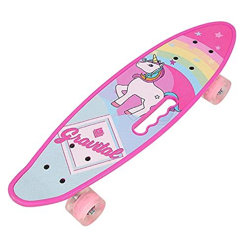 Skateboard Enfant, Skateboard, 61*18*12,5 cm, avec Roues PU Lumineuses