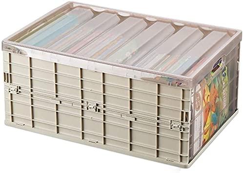 LIjiMY Plástico de Almacenamiento Plegable Transparente de plástico con Rueda, Cajas de Almacenamiento Plegables 25L con Tapas para Ropa de Almacenamiento de Juguete (Color : Khaki)