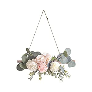 Boho Chic Flower Swag Hanging Decoration Nordic Style Artificial Hydrangea Peony Flower Wreath Wall Ornament Decor, Home Bedroom Restaurant Coffee Shop Wedding Party Wall Hanging Decor (D)