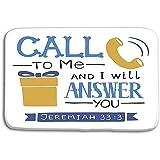 NA Piso de la Cocina Alfombrillas de baño Alfombra Letras de la Mano Llámame Te responderé Regalo telefónico Fondo bíblico Tarjeta de Las Escrituras cristianas 50x80 cm