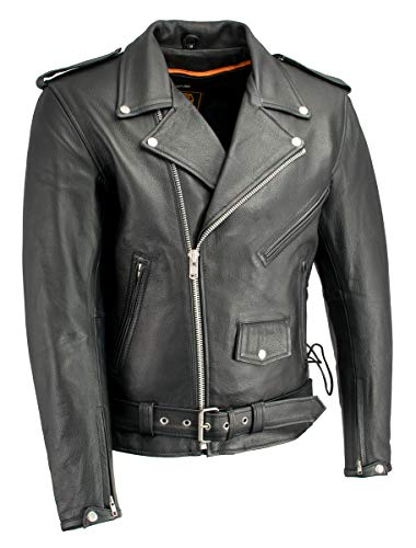Milwaukee Leather LKM1711 Men's Leather Black Classic Side Lace Police Style Jacket with Gun Pockets - 3X-Large