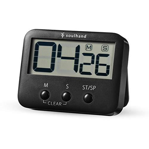 soulhand Digital Temporizador, Temporizador de Cocina, números Grandes ruidosos Alarma Magnetic Backing Stand con Gran Pantalla LCD Hornear Cocinar Sport Parte Oficina (Negro)