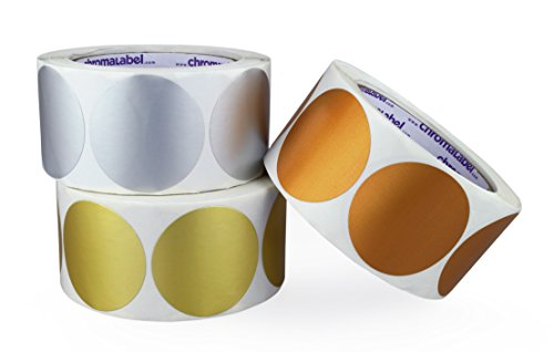 ChromaLabel 2 inch Metallic Color-Code Dots, Assorted Gold, Silver, Bronze, 500/Roll