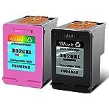 NineLeaf - Cartouches d'encre de remplacement remanufacturées HP 302XL - Encre noire et tricolore pour HP DeskJet 1110 2130 2132 2133 2134 3630 3632 3633 3634 3636 3637 1PK 302BXL, 1PK 302CXL Noir