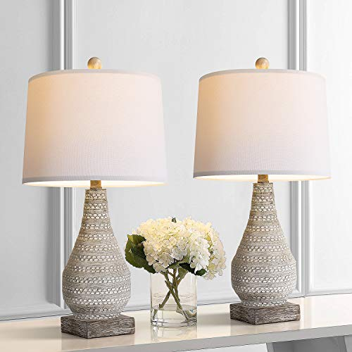 BOBOMOMO Retro 24.8'' Table Lamp Set of 2 for Bedroom Living Room Traditional Nightstand Lamps with White Fabric Shade