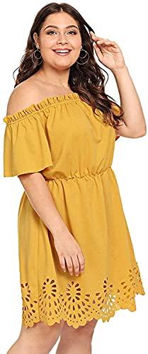 Romwe Women's Plus Size Off The Shoulder Hollowed Out Scallop Hem Party Short Dresses Ginger 3X Plus