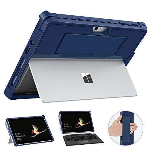 MoKo Hülle Kompatibel mit Surface Go 2 2020 / Surface Go 2018 10 (Inch), All-In-One Schutzhülle mit Stifthalter & Handschband & Kompatibel mit Typ Cover Tastatur für Microsoft Surface Go 10 - Blau